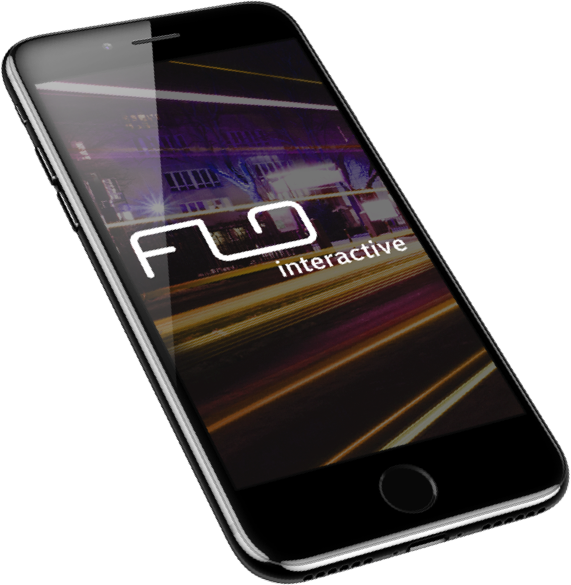 header image of a mobile phone with the flo logo