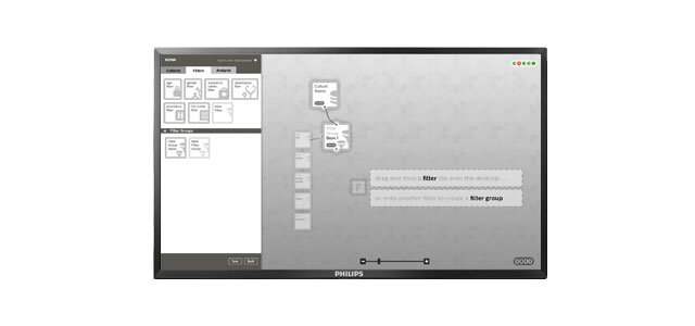 interface design on an desktop screen